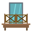 balcony with wooden fence icon isolated vector image vector image