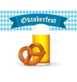 Bavarian beer mug with pretzel isolated on white vector image vector image