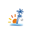 beach palm tree sun seagul logo vector image
