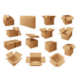 cardboard packages delivery boxes parcels packs vector image