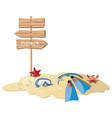 cartoon island with elements for diving vector image vector image