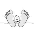 cartoon relaxing businessman with big feet vector image