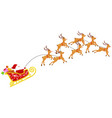 cartoon santa claus with seven reindeers in vector image