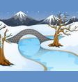 cartoon winter landscape wi vector image vector image