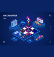 data center or centre with hardware engineers vector image vector image