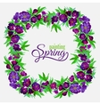 decorative flowers watercolor spring wreath vector image vector image