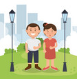 father and mother on the park vector image vector image