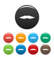 flat mustache icons set color vector image vector image