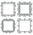 floral decorative square frames black bold vector image