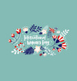 floral greeting card on blue background with vector image vector image