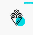 flower gift turquoise highlight circle point icon vector image