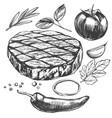 food meat steak roast vegetable set hand drawn vector image vector image