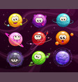 funny cartoon colorful comic emoji planets set vector image