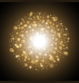 light circle with dots and sparks golden color vector image vector image