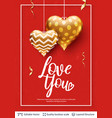 love you text and golden hearts on red vector image vector image