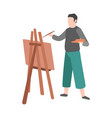 man paints cartoon male character draws on vector image