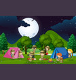 many kids camping out in the woods at night vector image vector image