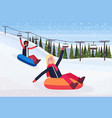 mix race women sledding on snow rubber tube winter vector image vector image