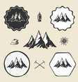 mountain alpinism vintage icon flat web sign vector image vector image
