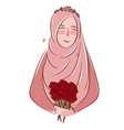 muslim girl with roses wearing veil islamic vector image vector image