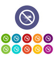 no mosquito sign set icons vector image vector image