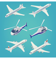 passenger airplane helicopter isometric vector image