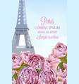 peony flowers in paris romantic card vector image vector image