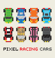 Pixel art style racing cars set vector image vector image
