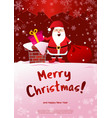 poster merry christmas santa claus on roof vector image vector image