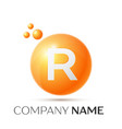 r letter splash orange dots and circle bubble vector image vector image