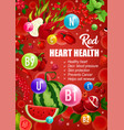 red diet heart health vitamins food nutrition vector image vector image
