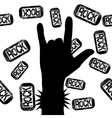 rock on sign vector image vector image