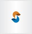 s letter logo icon symbol orange blue sign vector image