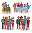 set afro-american family at holidays or festive vector image vector image