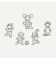 Set of cute doodle children vector image vector image