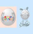 set of happy easter card with easter eggs and vector image vector image