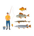 set of various water inhabitants and fisherman vector image vector image