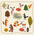 set woodland animals and cute forest design vector image