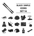 ski resort set icons in black style big vector image