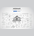 Webinar concept with business doodle design style