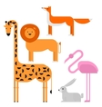 Wildlife zoo collection of cute cartoon animals vector image vector image