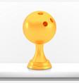 winner bowling cup award golden trophy logo vector image vector image