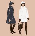 women in the fur coats vector image