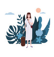 young girl in a white dress with a suitcase goes vector image vector image