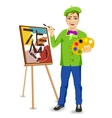 young happy male painter artist painting vector image