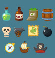 pirate game cute icon inventory weapon set vector image