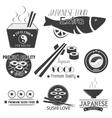 set of sushi labels Japanese food vector image