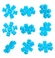3d isometric snowflake icon with various vector image