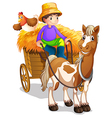 A farmer riding in his wooden cart with a horse vector | Price: 1 Credit (USD $1)