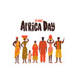 africa day card diverse african people group vector image vector image